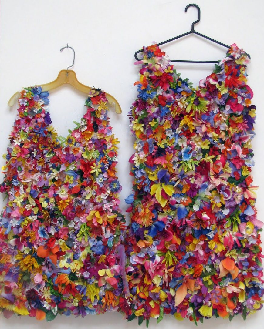 Recycled cemetary flower dresses by susan lenz cara zara for Anything of waste material