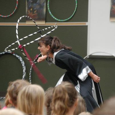 Cara Zara Hula Hoop Queen of the Universe performing at Del Webb Library