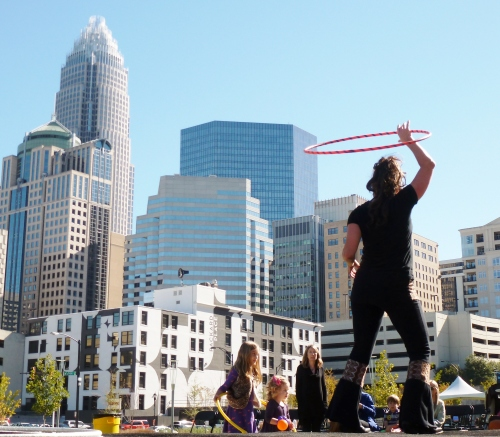 Cara Zara Hooping at Outdoor Festival Charlotte NC